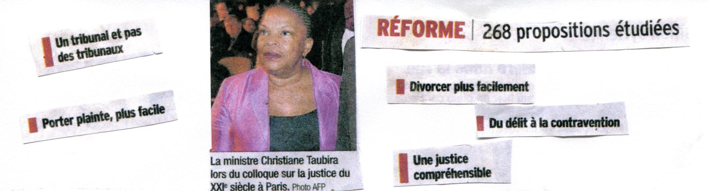 Coupures de presse réforme de la justice