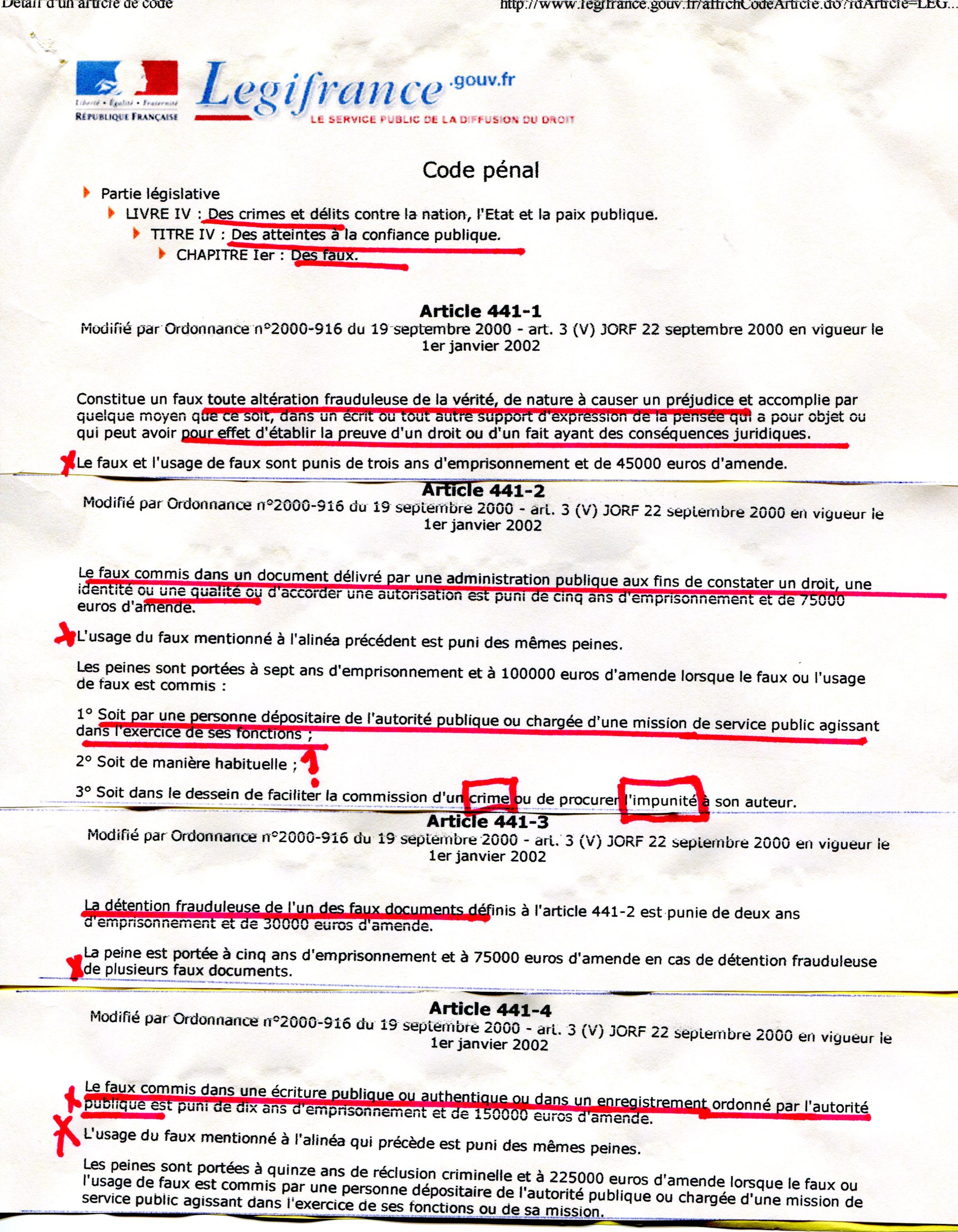 Extrait code pénal 1