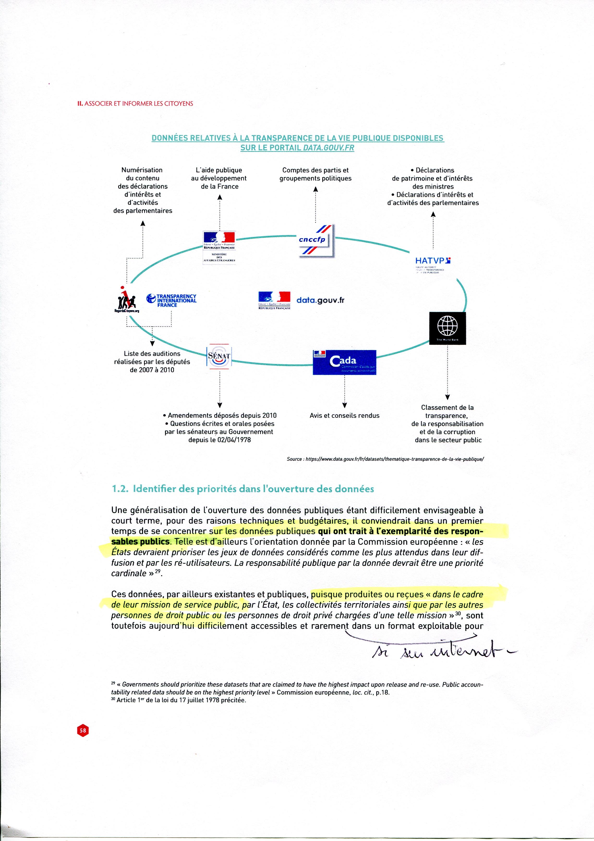 Extrait du rapport Nadal page 58