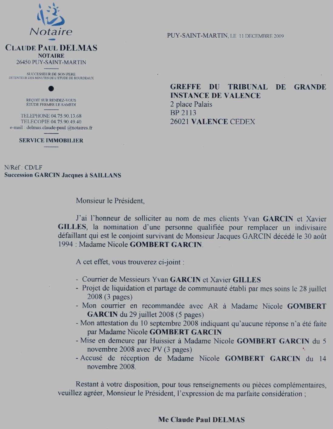 Sollicitation de Maitre Delmas auprès du Greffe du TGI de Valence - 11/12/9