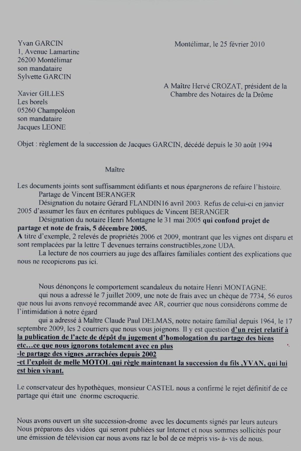 Courrier à Hervé Crozat du 25/2/10 - page 1