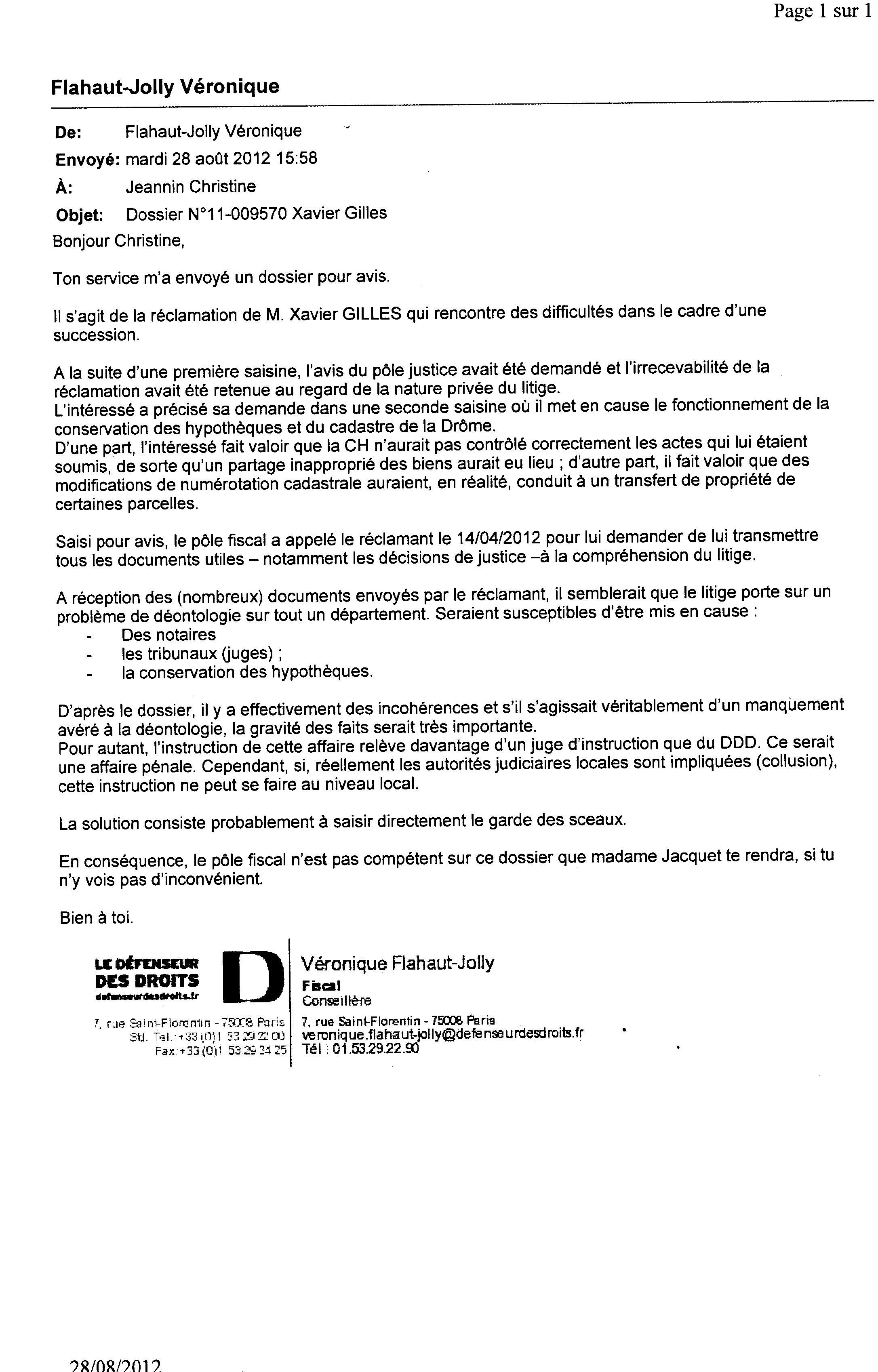 E-mail de Véronique Flahaut-Jolly du 28/8/12- échange interne au Défenseur des Droits - qui nous a été transmis