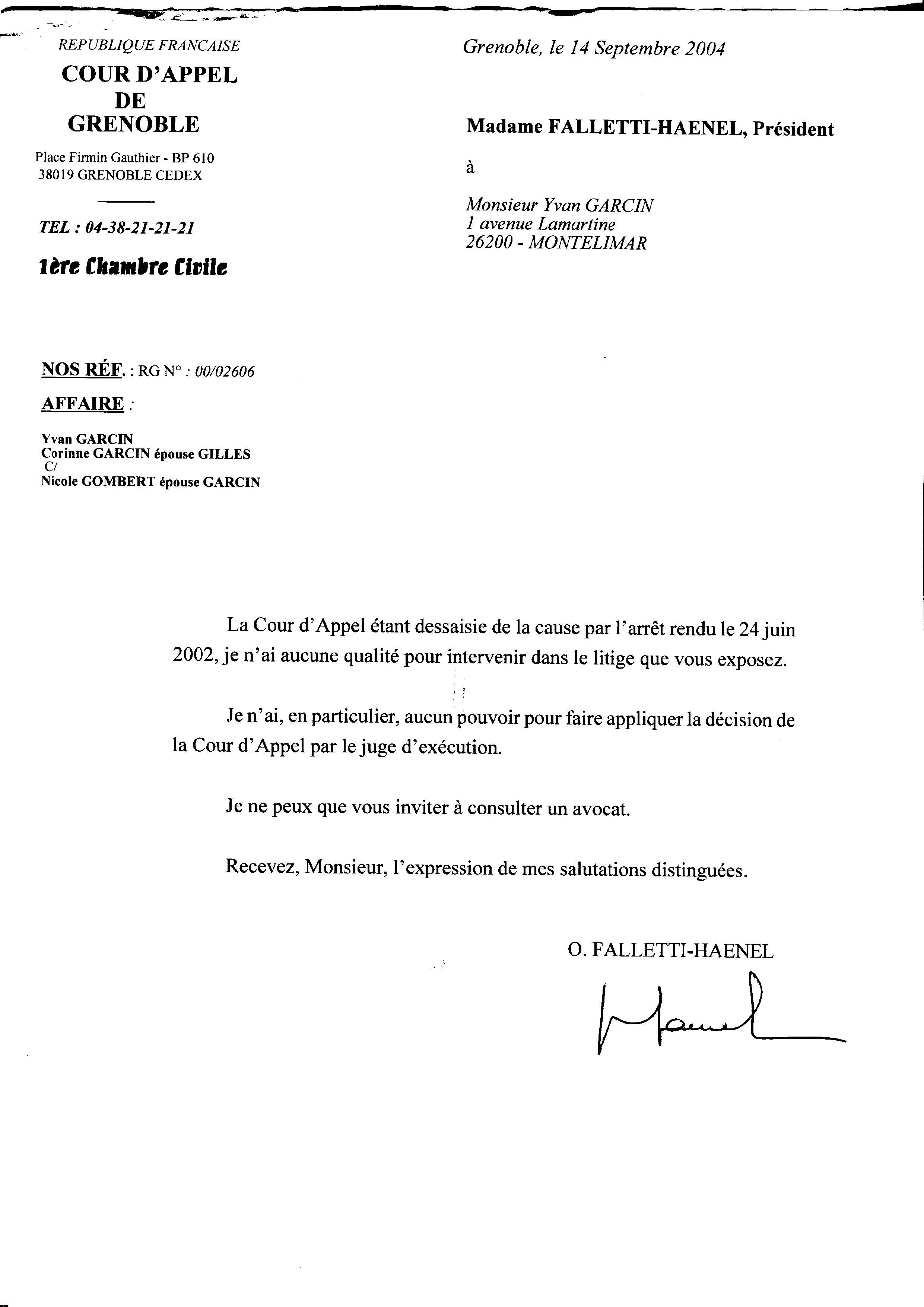 Courrier de Falletti-Haenel à Yvan Garcin du 14/09/2004